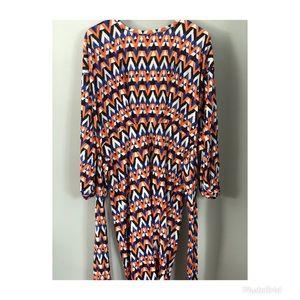 Patterned wrap around dress .